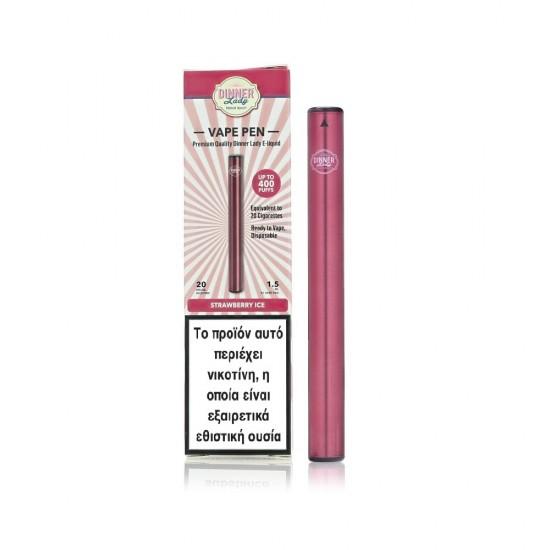 Dinner Lady Strawberry Ice Disposable Vape Pen 20Mg 1.5ml